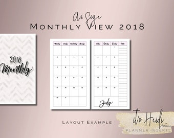 A6 Size Printable Month on 2 Pages 2018