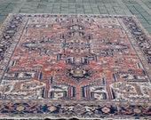 EXCLUSIVE RUG, 91x135 inch,231x344 cm, Vintage Rug, Hand Made Rug, Heriz Rug,Muted Pastel Big Size Floor Rug, Wool Rug