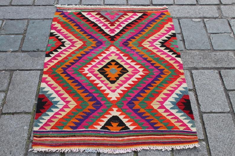 Living Room Kilim Rug,Hand Made Kilim NOMADIC KILIM RUG 76x110 cm Floor Rug,Bohemian Rug 43x30 inch Ethnic Kilim,Turkish Kilim Rug