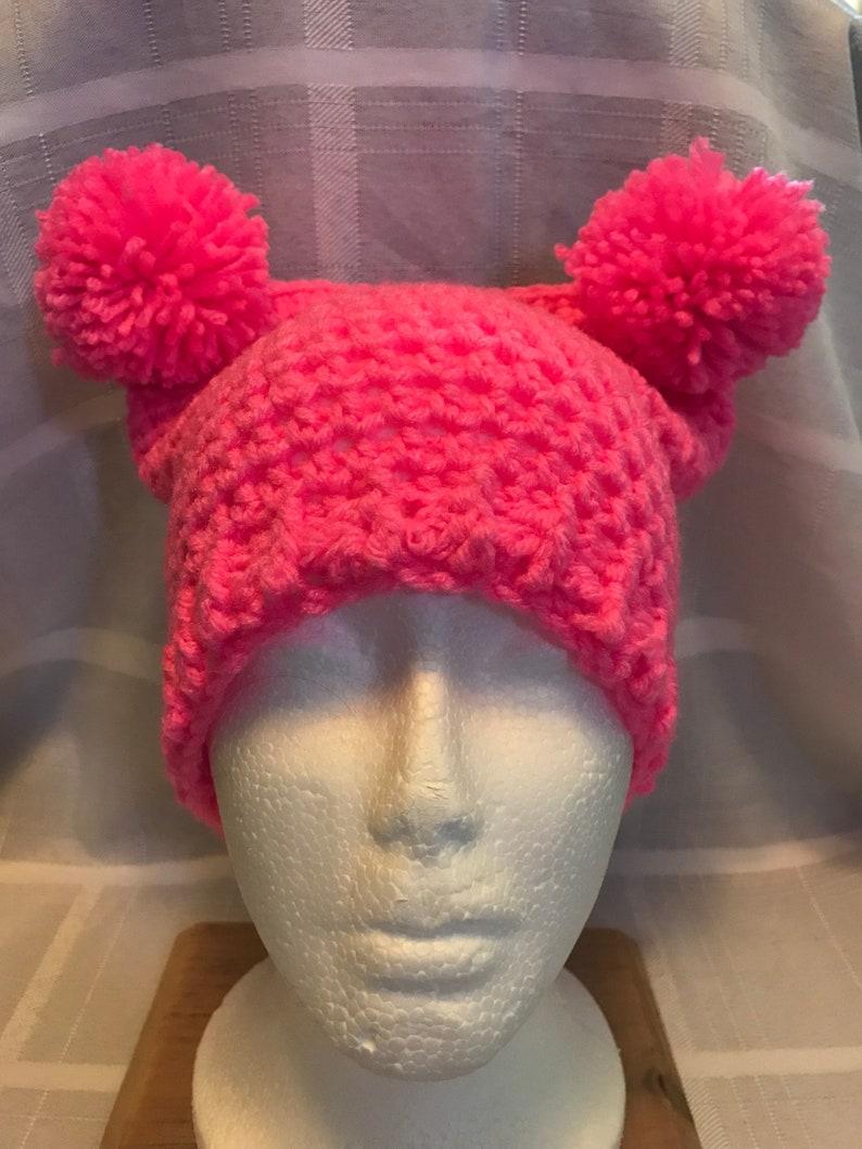 53da23c02f6 Hot pink crochet double pom pom hat beanie women s march