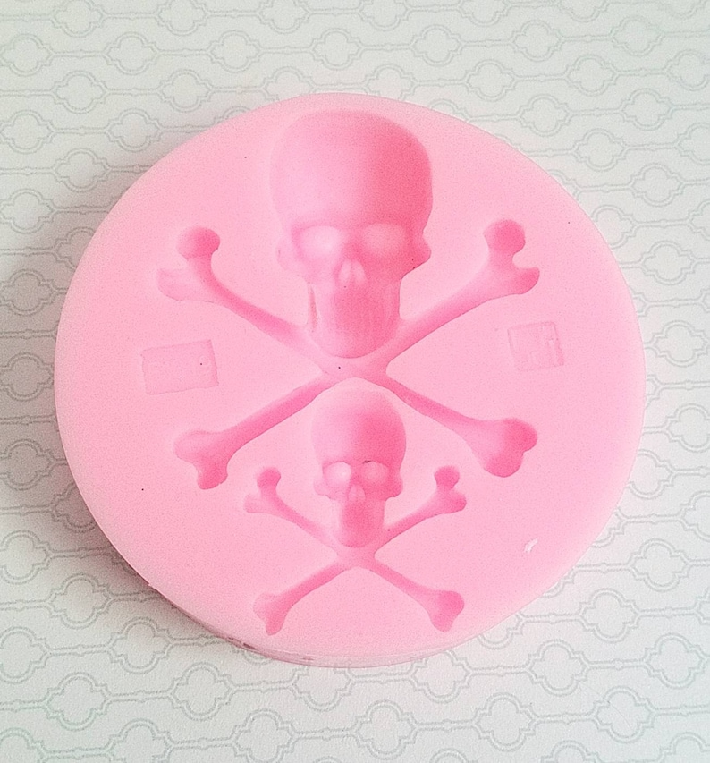 Silicone skull cross bone mold, halloween mold, clay mold, polymer clay  mold, silicone mold resin, flexible-silicone-mould, resin mold