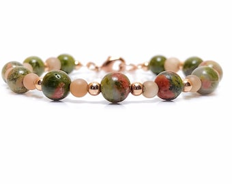 Unakite Bracelet,Beaded Bracelet, Gemstone Jewelry
