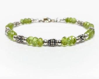 Peridot Birthstone Bracelet, Gemstone Bracelet With Periodot, August Birthstone Bracelet