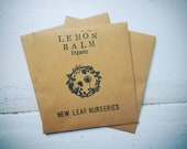50 Organic Lemon Balm Seeds In A Hand Stamped Seed Packet