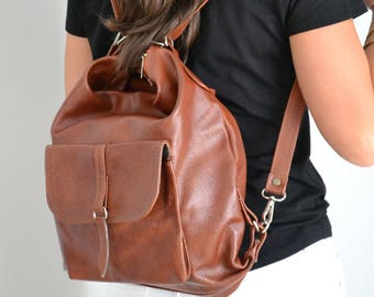18e5e20b30052 Leather Shoulder Bag LEATHER BACKPACK PURSE Brown Backpack Cognac Rucksack  Leather Purse Bag Black Women s handbag Leather bag