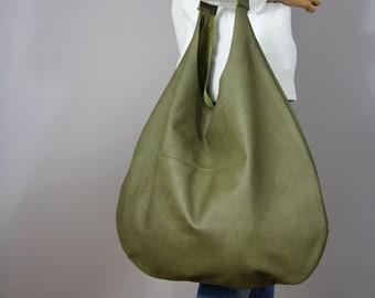 Green Leather Purse, Leather Hobo bag,  Handbag for Women,  Handbag for Women, Soft Leather Bag, Every Day Bag, Women bag