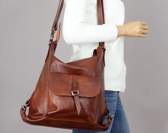 Leather Shoulder Bag LEATHER BACKPACK PURSE Brown Backpack Cognac Rucksack  Leather Purse Bag Black Women s handbag Leather bag 31f5b062a7eeb