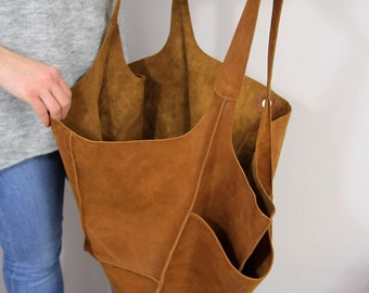6a446ce179a6 Brown Oversized bag Large Nubuck leather tote bag
