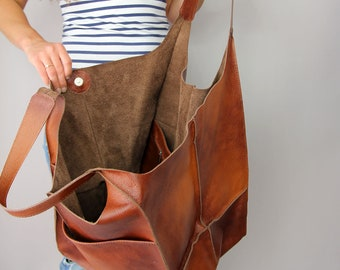 Cognac Oversized bag Large leather tote bag