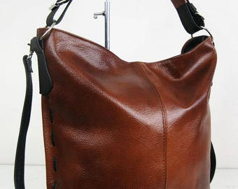 Cognac Brown LEATHER HOBO BAG - Everyday Leather Shoulder Bag d90415f783