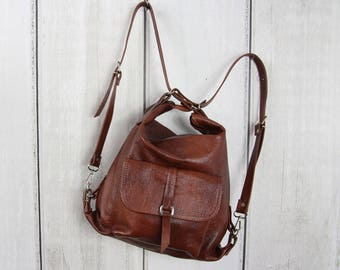 BROWN LEATHER BACKPACK purse Backpack Leather Shoulder Bag Cognac Rucksack Leather  Purse Bag Cognac Women s handbag Leather bag d1e3d8b58fd5f