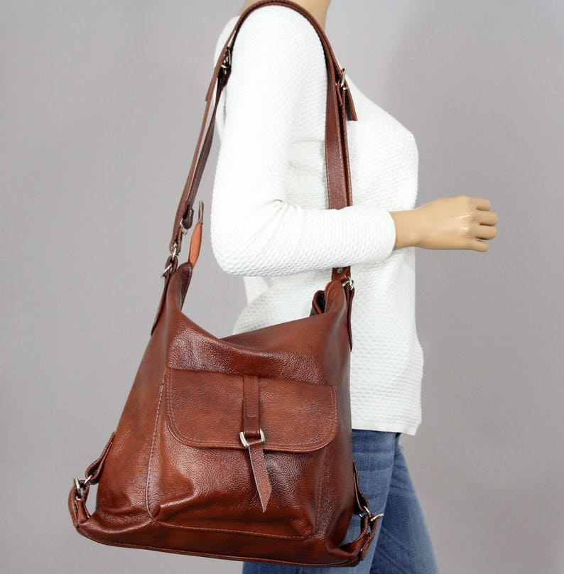 2b4280a7a3434 Leather Shoulder Bag LEATHER BACKPACK PURSE Brown Backpack