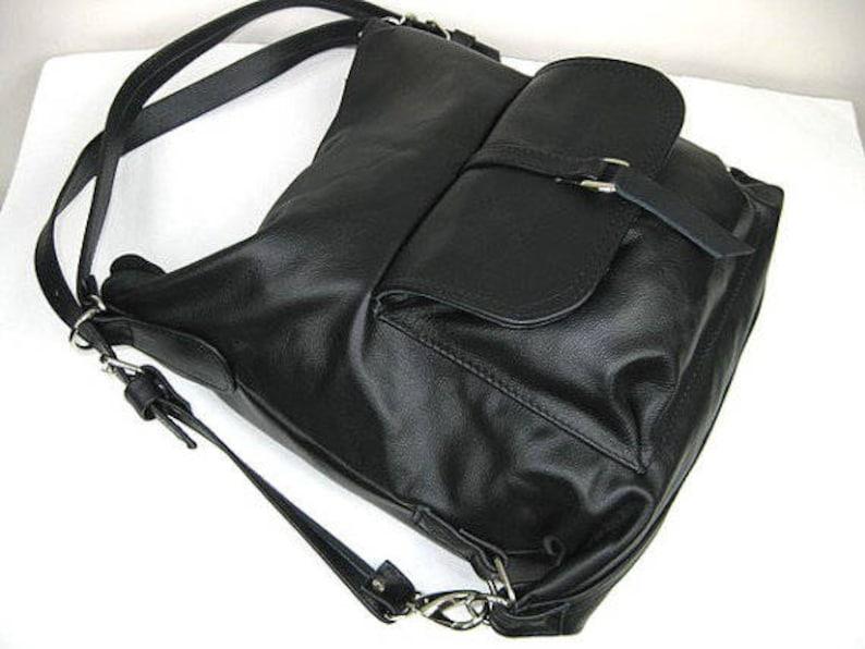 Black LEATHER BACKPACK PURSE Leather Shoulder Bag Black Backpack Black Rucksack Leather Purse Bag Black  Women/'s handbag Leather bag