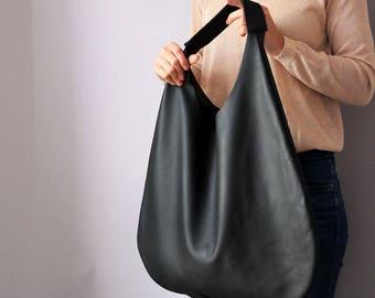 BLACK LEATHER HOBO bag, Black Handbag for Women, Black Handbag for Women,  Soft Leather Bag, Every Day Bag, Women black bag