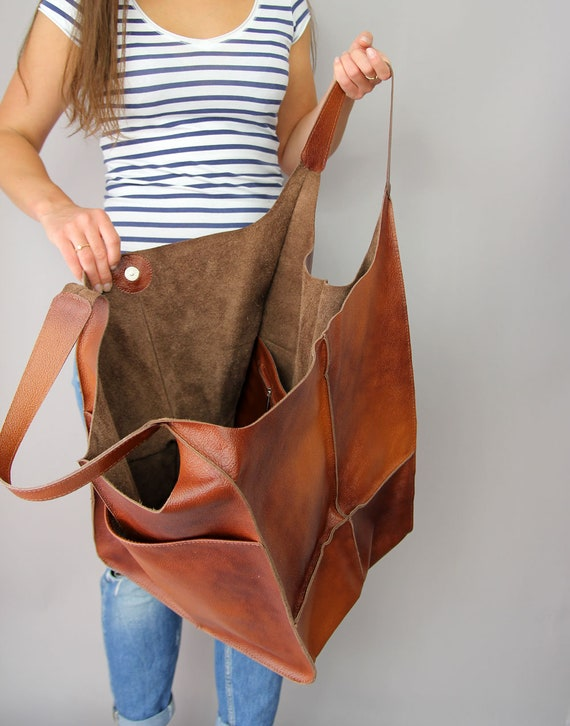a0dd53a867d7 Cognac Oversized bag Large leather tote bag, Every Day Bag, Women leather  bag Slouchy Tote, Cognac Handbag for Women, Soft Leather Bag