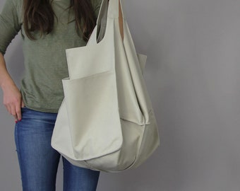 LARGE LEATHER TOTE bag, light grey, Handbag for Women,  Soft Leather Bag, Every Day Bag, Women leather bag, Weekender Oversized bag
