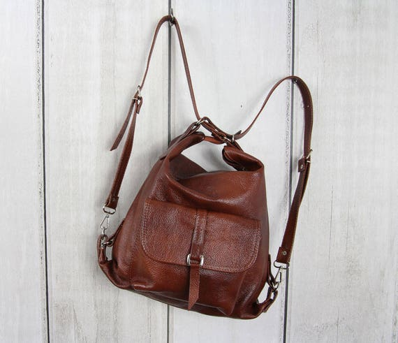 BROWN LEATHER BACKPACK purse Backpack Leather Shoulder Bag  a549e71c11991