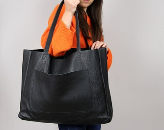 OVERSIZED TOTE,  Large Slouchy Tote, Black Handbag for Women, Leather Bag, Every Day Bag, Women leather bag, Leather carry on