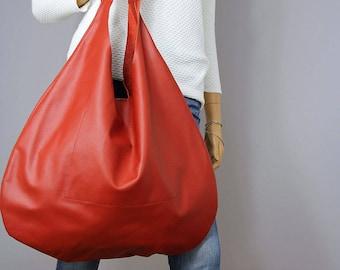 Sale  RED LEATHER HOBO bag, Red Handbag for Women, Red Handbag for Women, Soft Leather Bag, Every Day Bag, Women red bag