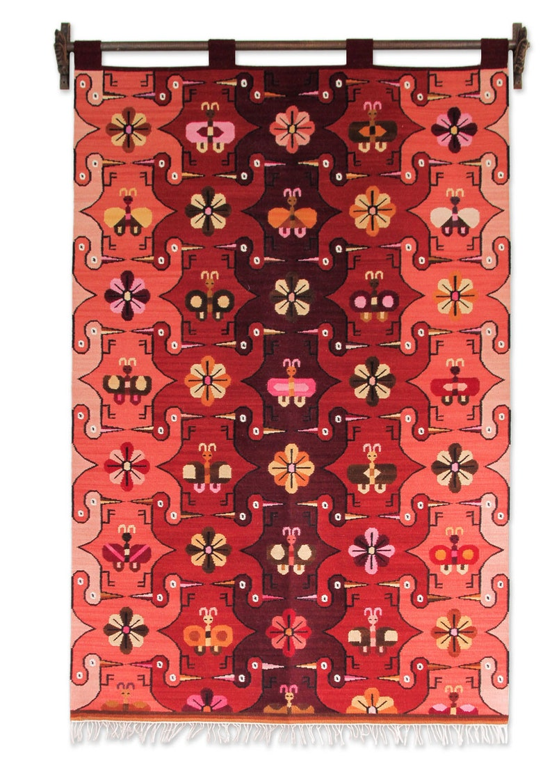 a73e2ca0a2d54 Birds and flowers geometric tapestry of Andean wool handmade