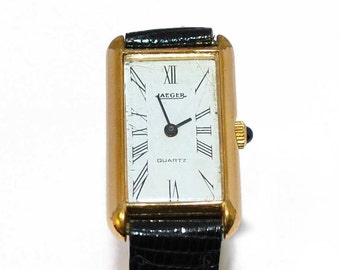 Watch rectangle steel and yellow gold 18K Jaeger