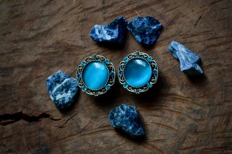 Blue Rhinestone Plugs