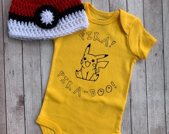 0c81425aeaab Baby Pokemon Inspired Pikachu Inspired outfit Baby Shower gift Custom Shirt  and pokeball hat - Gamer Baby Gift Gender Reveal Party Idea