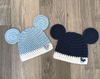 Newborn Baby Boy Disney Mickey Mouse Inspired Crochet Photo Prop hat -  Mickey Mouse Disney Inspired Baby shower Gift -Handmade Christmas Hat f63aed33bb63