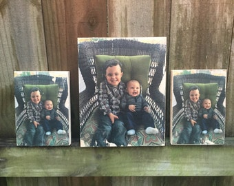 Homemade Family Pictures Transferred to Wood, Picture on Wood, Picture on board