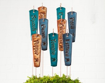 Vegetable Marker 3 Pack With Metal Stands, Garden Markers, Plant Markers, Vegetable Stakes, Garden Stakes, Ceramic Garden Markers
