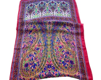 Gorgeous Burgundy  Silk Scarf  Multicoloured Soft Silk Scarf Wrap Neck Scarf 22x66 Inches
