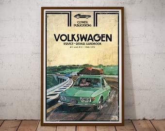 "Poster 24/"" x 16/"" Volkswagen and Girl"