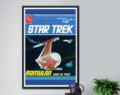1975 Star Trek Romulan Bird of Prey Box Top POSTER (up to full-Size 24 quot x 36 quot ) - AMT Model Kit - Toys - USS Enterprise - Space Ship - Art
