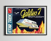 1974 Star Trek Galileo 7 Shuttlecraft Model POSTER (up to full-Size 24 quot x 36 quot ) - AMT - Toys - USS Enterprise - Space Ship - Runabout - Art