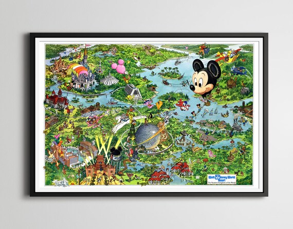 Vintage 1990 DISNEY WORLD Resort Map Poster! (24 x 36 or Smaller) - Magic  Kingdom - Epcot - Cartoons - DuckTales - Figment - Little Mermaid