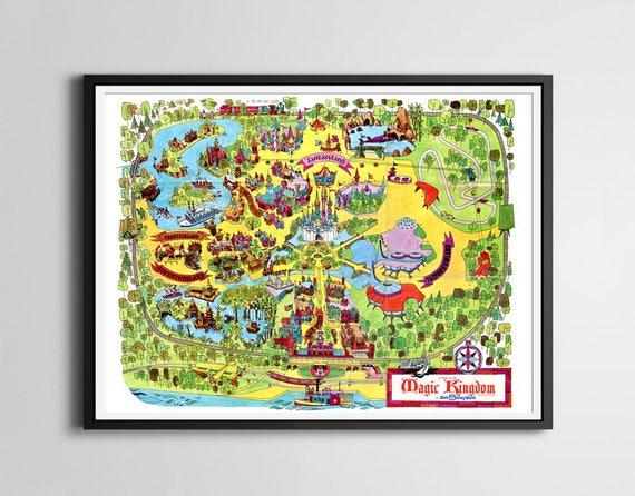 Vintage 1973 DISNEY WORLD Park Map POSTER 24 x | Etsy