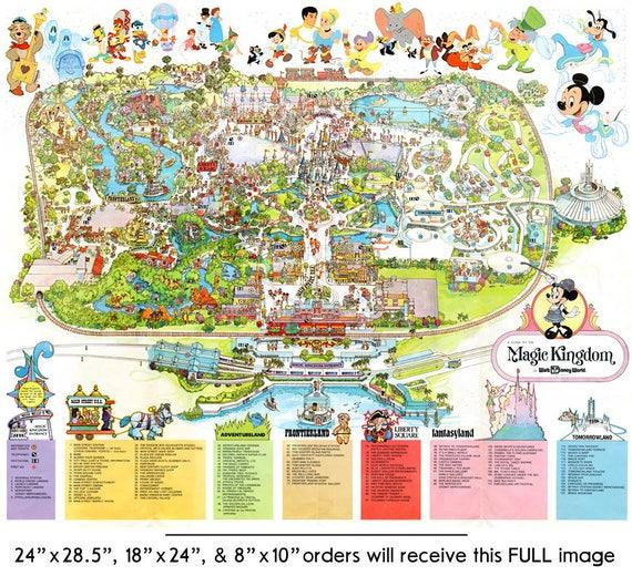 Adventureland Disney World Map.Vintage 1979 Disney World Park Map Poster 24 X 36 Or Etsy
