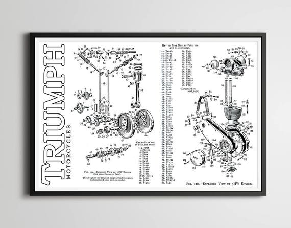1951 triumph motorcycle engine poster full size 24 x etsy rh etsy com triumph spitfire engine diagram triumph tr6 engine diagram