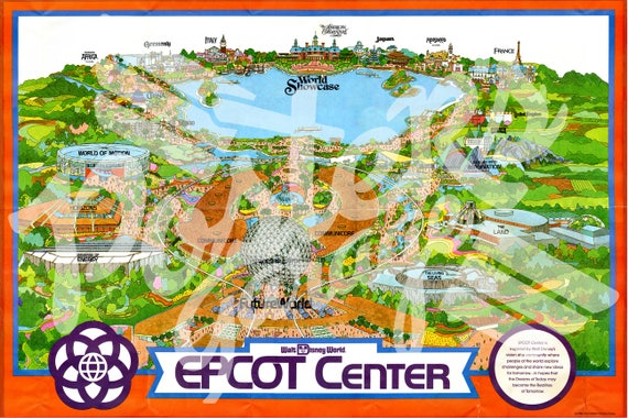 Vintage EPCOT CENTER Inaugural Year Park Map Poster! (24\