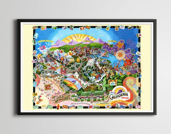 Disney's California Adventure 2001 Grand Opening Map POSTER! (24 x on