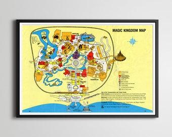 Vintage 1980 DISNEY WORLD Park Map Poster! (24 x 36 or Smaller!) - Magic Kingdom - Wall Decor - Disney Gifts - Tomorrowland - Disneyland
