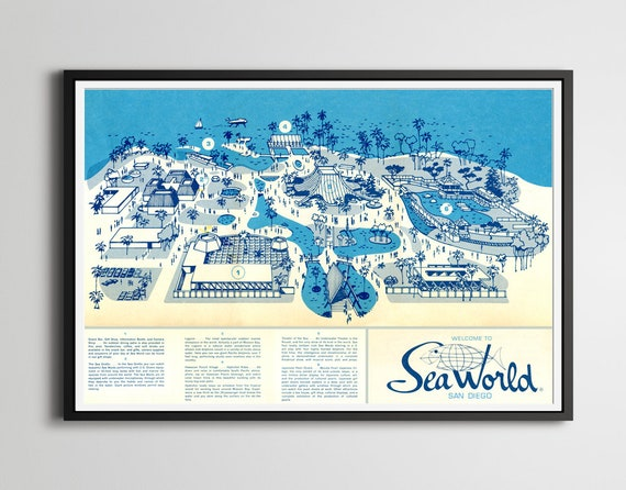 1964 SEA WORLD San Diego Opening Year Map POSTER up to | Etsy
