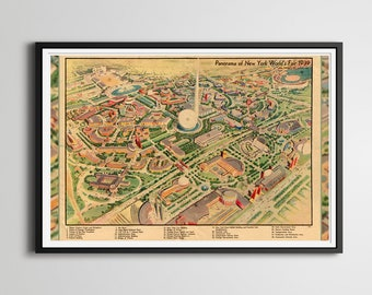"""1939 New York World's Fair MAP POSTER! (Full-size 24"""" x 36"""" or smaller) - Vintage - Queens Museum - NYC - WW2 - History - Corona Park"""