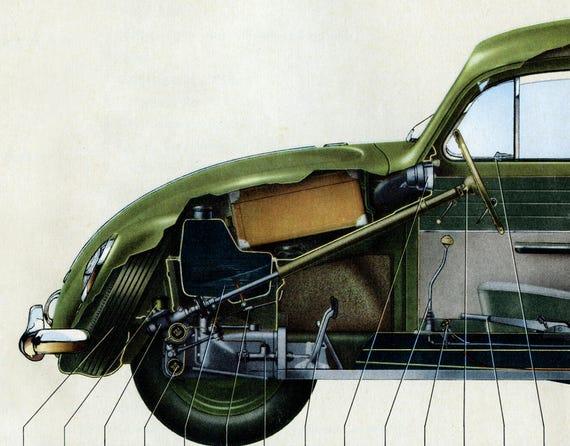 - VW Bug - Phantom View Cutout Original Vintage Cars 1958 Volkswagen Beetle POSTER Full Size 24 x 36 or smaller