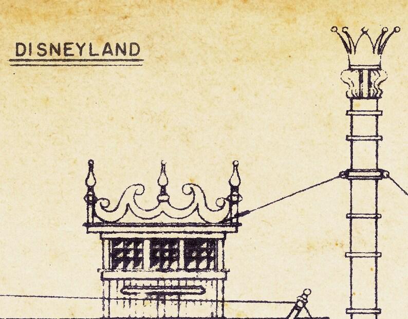 Disney Riverboat 24 x 36 or smaller Rivers of America Frontierland - Disneyland Vintage Mark Twain STEAMBOAT Blueprint POSTER!