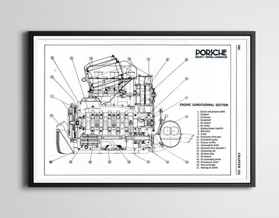 Porsche 911 Engine Diagram Poster 24 X 36 Or