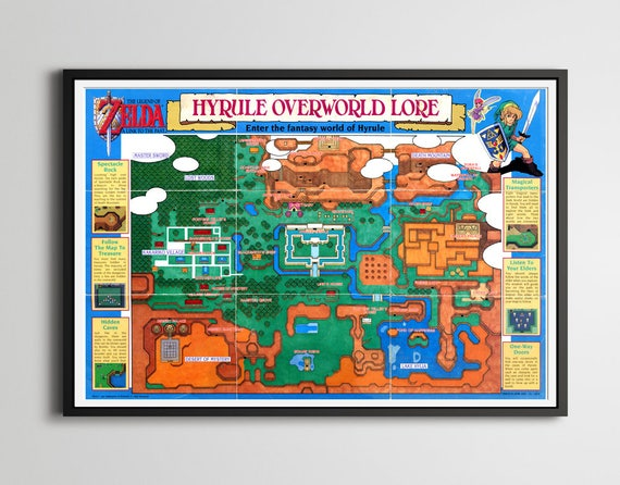 1992 Legend of Zelda: A Link to the Past Hyrule Map POSTER | Etsy