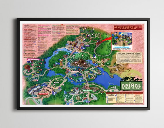 Disney\'s Animal Kingdom GRAND OPENING Park Map Poster! (up to 24\