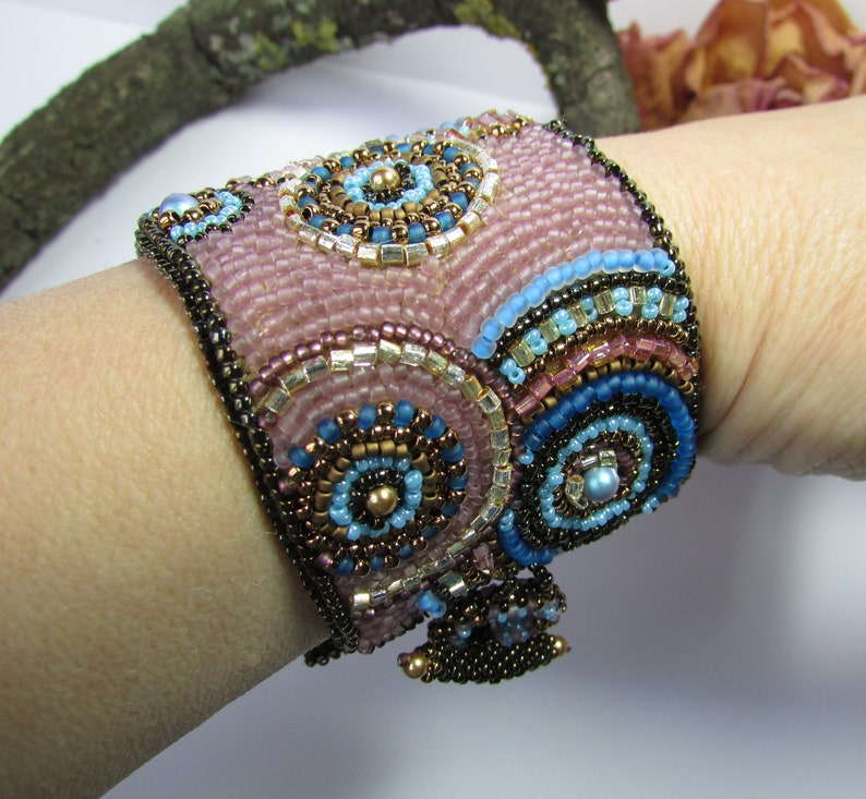 Bead Embroidery Cuff Bracelet Mandala Flower jewelry Gift for her