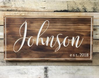 Farmhouse Decor,Home Sign, Last Name Sign, Our First Home, Established Sign, bedroom decor, fixer upper style, last name decor